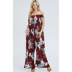 Off Shoulder Floral Jumpsuit in Wine with Pockets